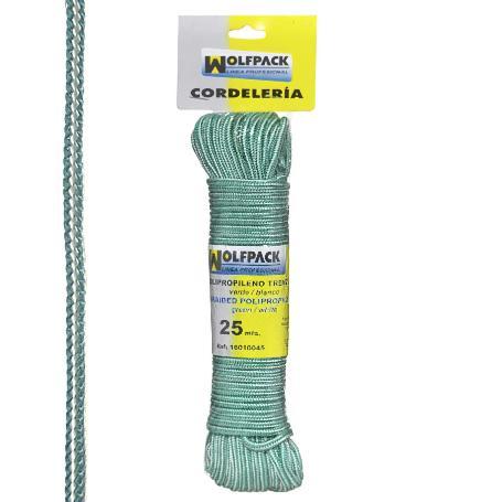 Cuerda trenzada polipropileno blanca / verde  (madeja 25 mt)